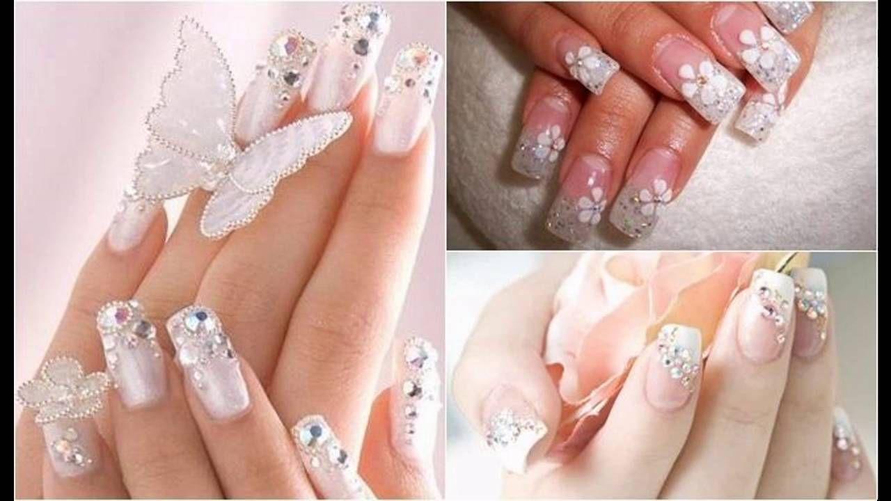 Modelos de Uñas decoradas blancas para boda