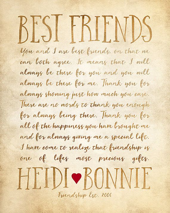Custom Letter For Best Friend Art Friendship Poem Birthday Or