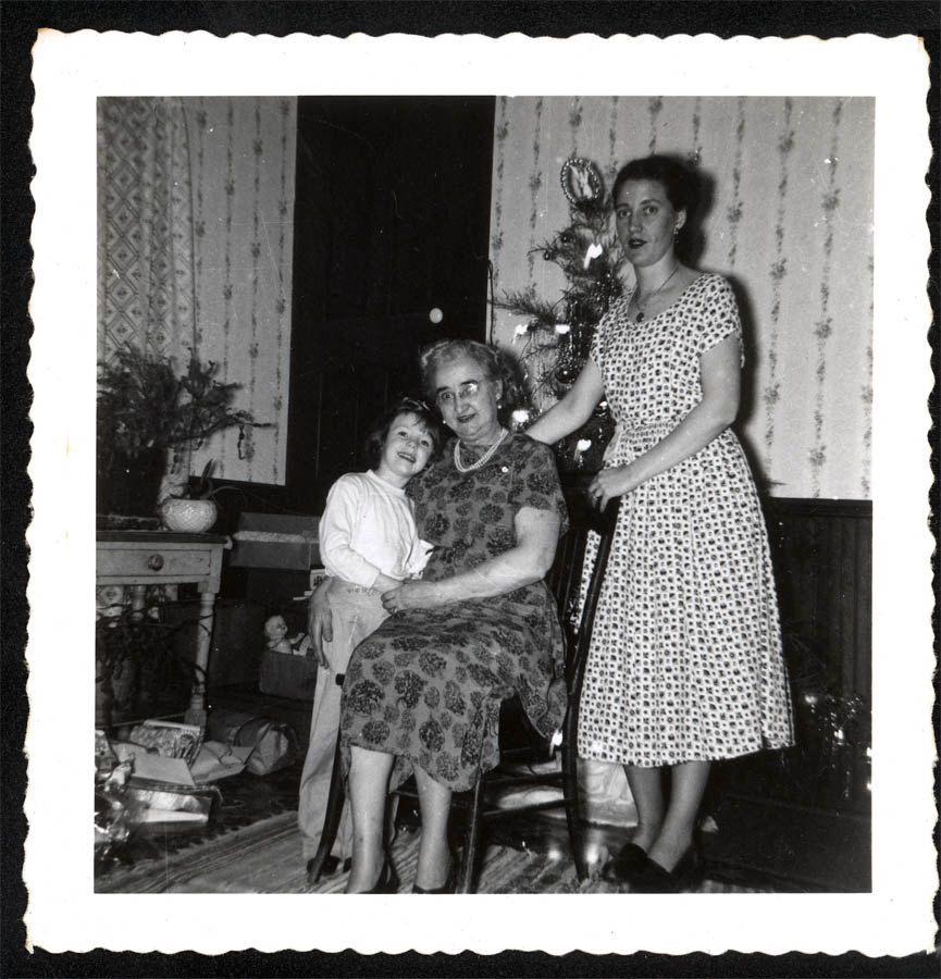 Vintage Snapshot photo Julie Christmas Tree Packages Mom Grandama ...