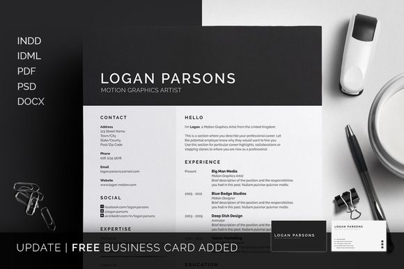 Resume\/CV - Cover Letter - Business card - Template - Logan by - resume business cards