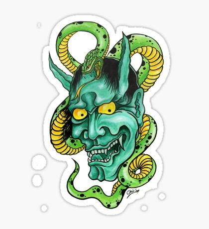 Hannya mask and snake sticker