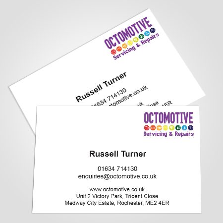 Octomotive Business Cards Single Sided 400gsm Matt Laminated Business Design Medway Repair