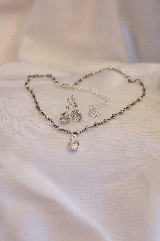 Swarovski Silver Pyrite Choker Set Dainty Rosary Chain 8mm Crystal Charm&MatchingEarrings Gunmetal Chain Adjusts 15-17 Inches Great Layered #rosaryjewelry
