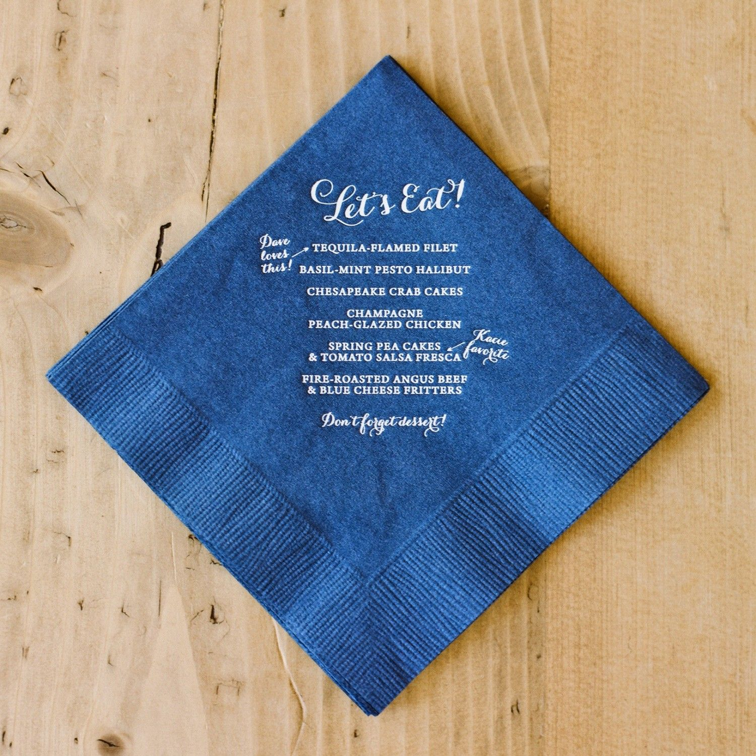 DIY with a custom stamp ($20 approx) and do ALL your cocktail napkins.
