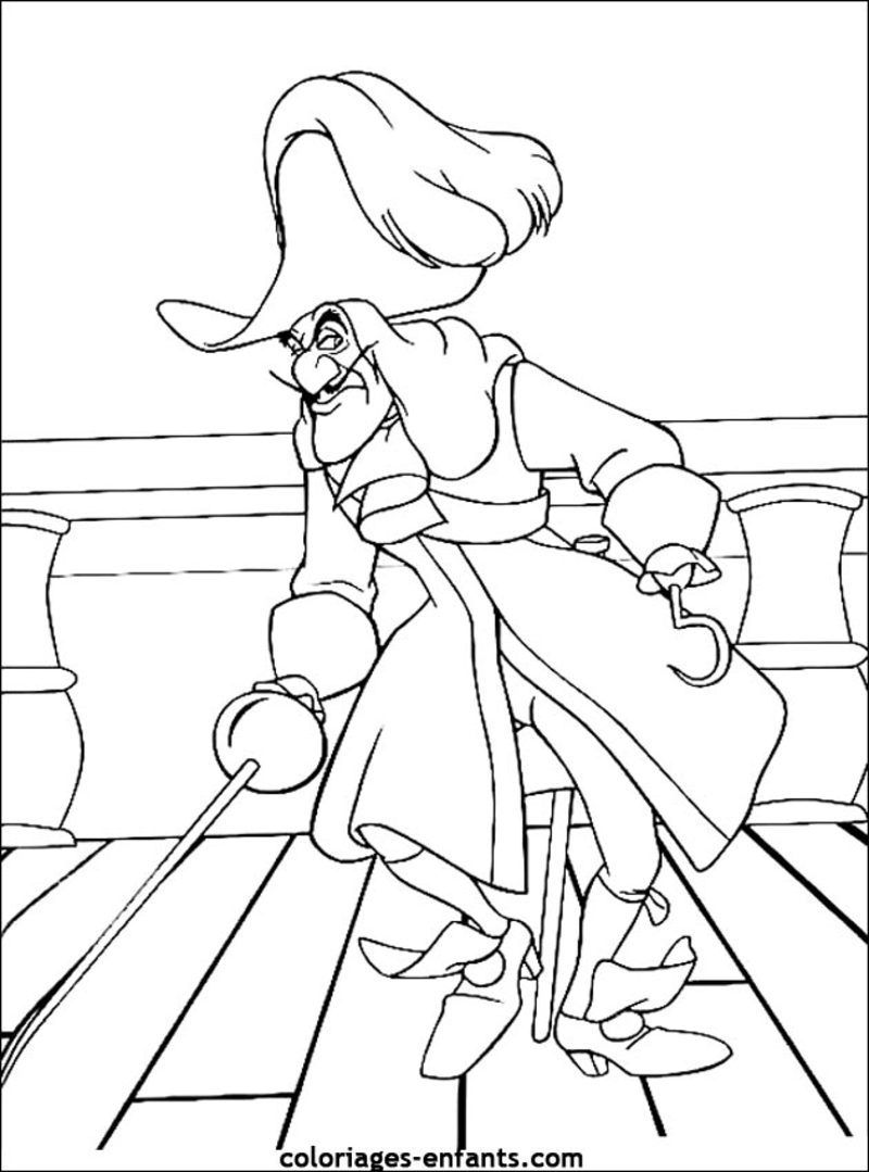 Captain Hook Mock Coloring Pages For Kids Printable Peter Pan
