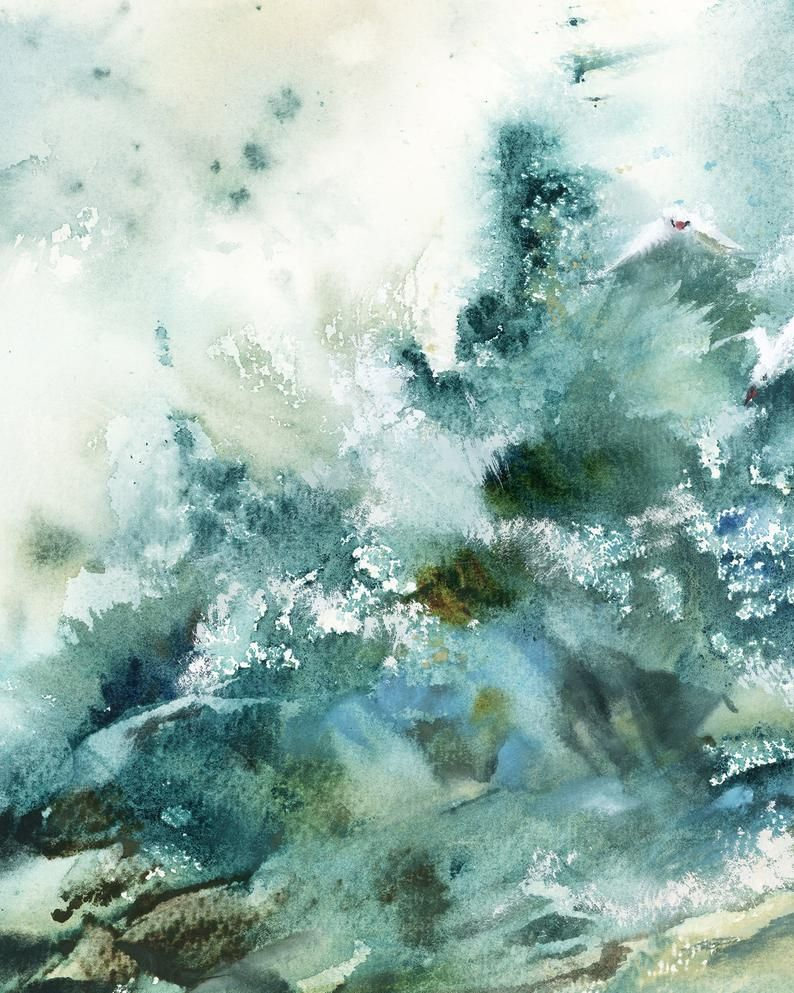 Abstract Sea Fine Art Print Emerald Green Sea Waves Watercolor