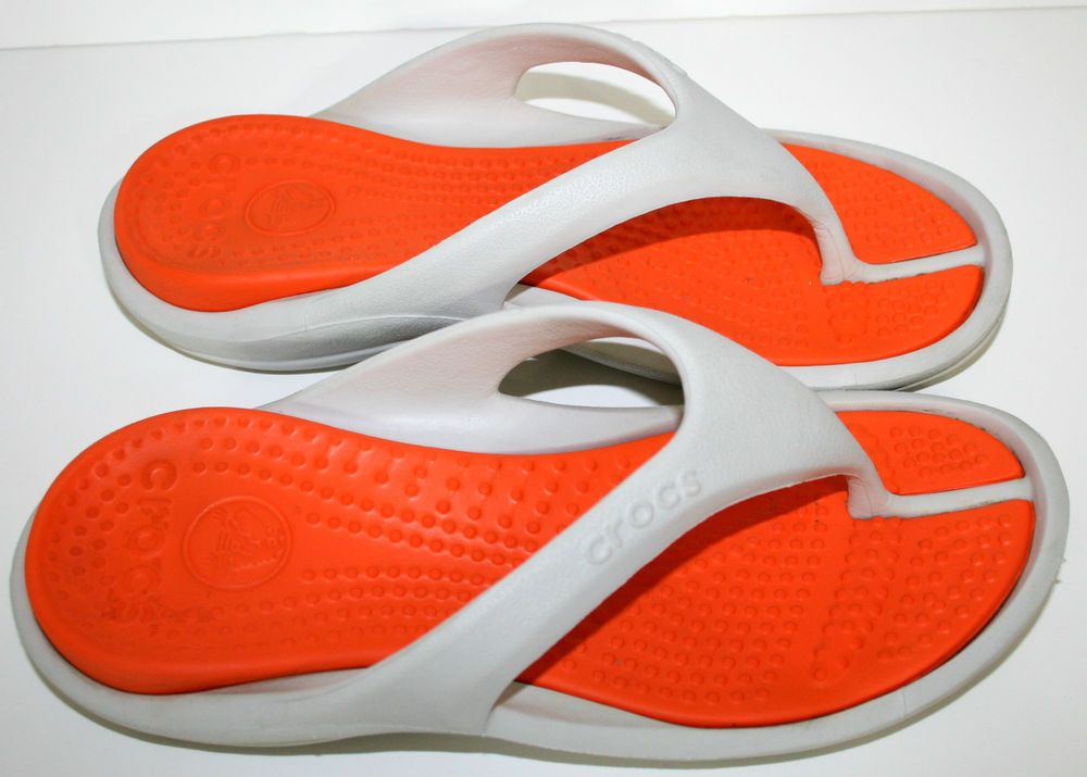 Crocs Athens Sandals Flip Flops Women Size 8 Orange Beige Men Size 6 Water Shoes #Crocs #FlipFlops