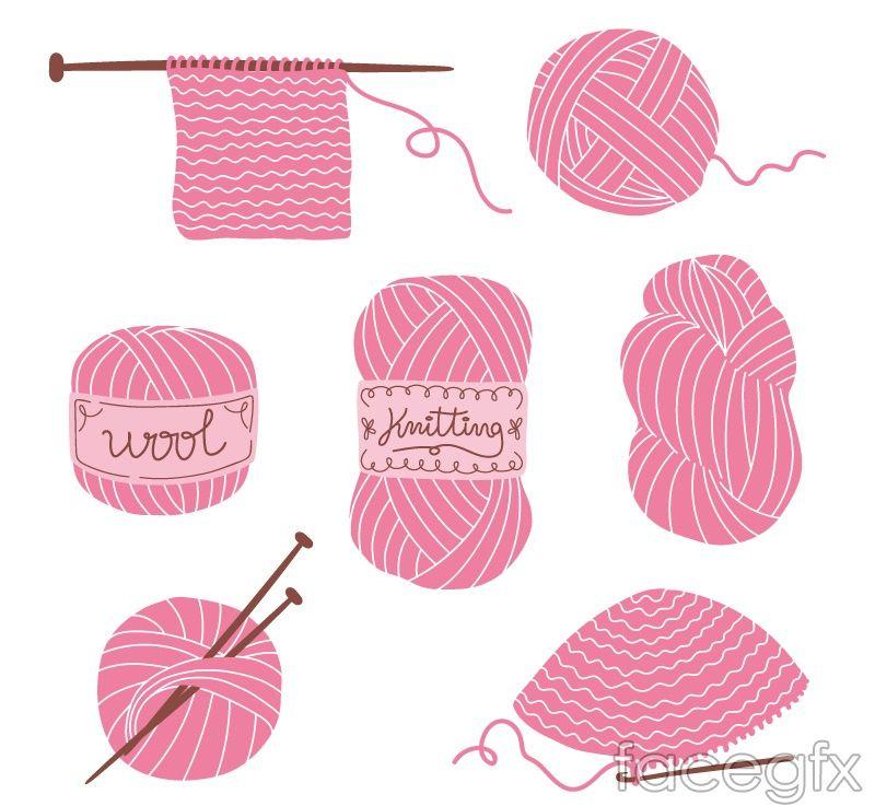7 Pink Wool Vector Knitting Yarn Ball Vector Free