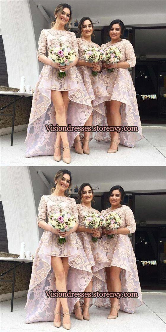 Charming Half Sleeves High Low Bridesmaid Dresses, Scoop Neckline Lace Bridesmaid Dresses, Bridesmaid Dresses, VB0127