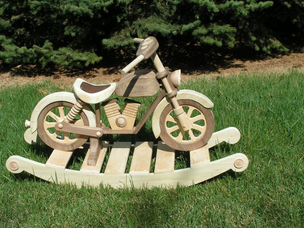 Rocking wooden motorcycle woodworking pinterest rock for Woodworking plan for motorcycle rocker toy
