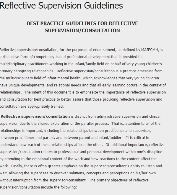 Reflective Supervision Guidelines Clinical Supervision Reflective Practice Social Work Practice