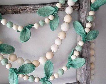 Magnolia leaf garland. Leaf Garland. Felt ball Garland.felt leaf. Felt leaf garland. Farmhouse decor