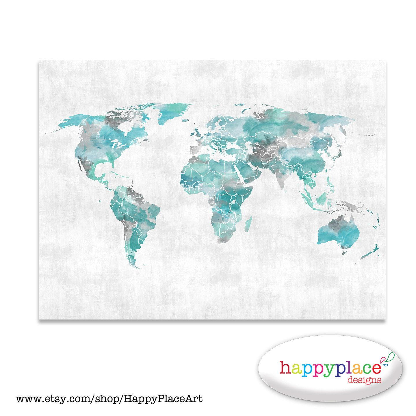 World Map Wall Art Gray Aqua Print With Personalised Text Or Quote - Grey world map poster