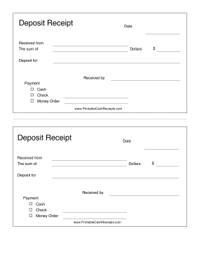 Landlords And Lenders Can Use This Printable Deposit Receipt To Note The Amount Paid And The Payment Type Fr Dog Breeding Business Receipt Puppy Shot Schedule
