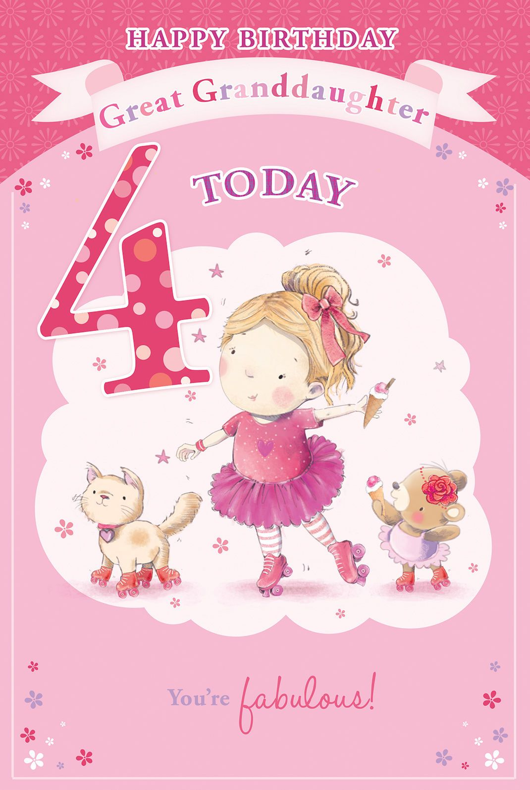 Great Granddaughter 4th Birthday Card Badge 4 Today Girl Balloon 9 X 6 Birthday Cards Online Greeting Cards 4th Birthday