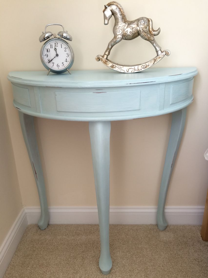 Duck Egg Blue Half Moon Table In Chalk Paint Furnitureflip Duckegg Halfmoon Shabbychic Distressed Half Moon Table Furniture Restoration Flipping Furniture