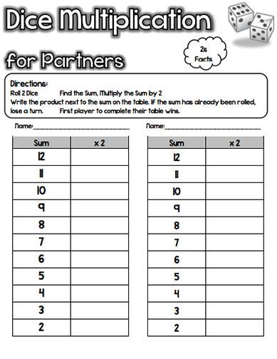 Dice games for practicing multiplication facts 2 through 12!!! All - long multiplication worksheets