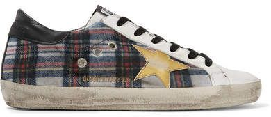 Francy Tartan Tweed And Leather Sneakers - White Golden Goose SDdDtY