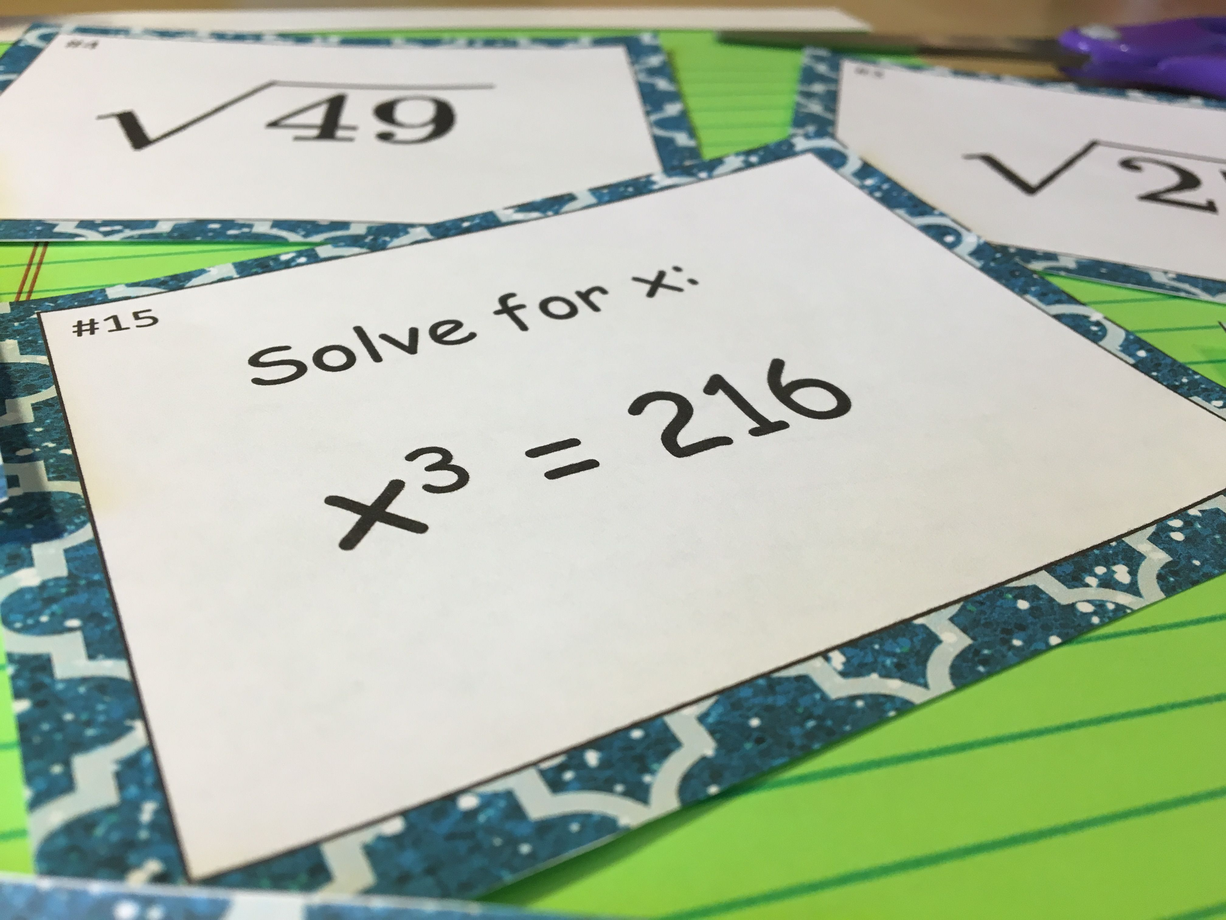 Square Roots Amp Cube Roots Task Cards