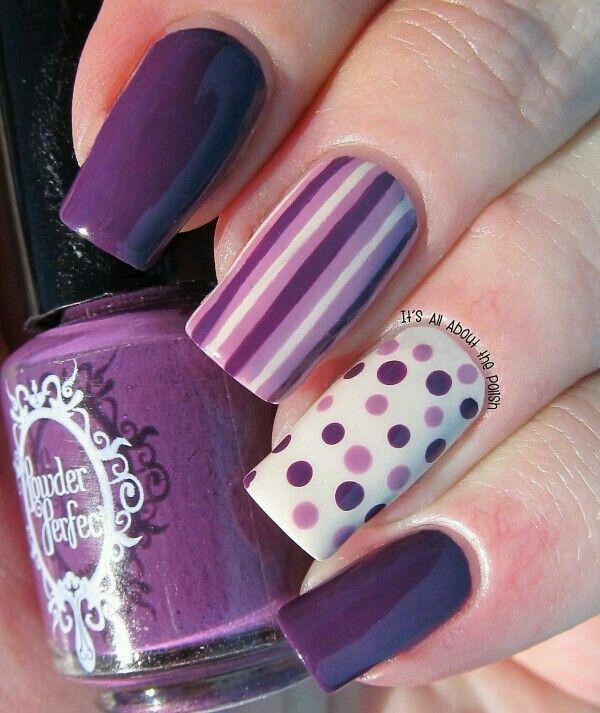 Puntos y lineas purpuras | UÑAS LINDAS MUY SENCILLAS | Pinterest ...