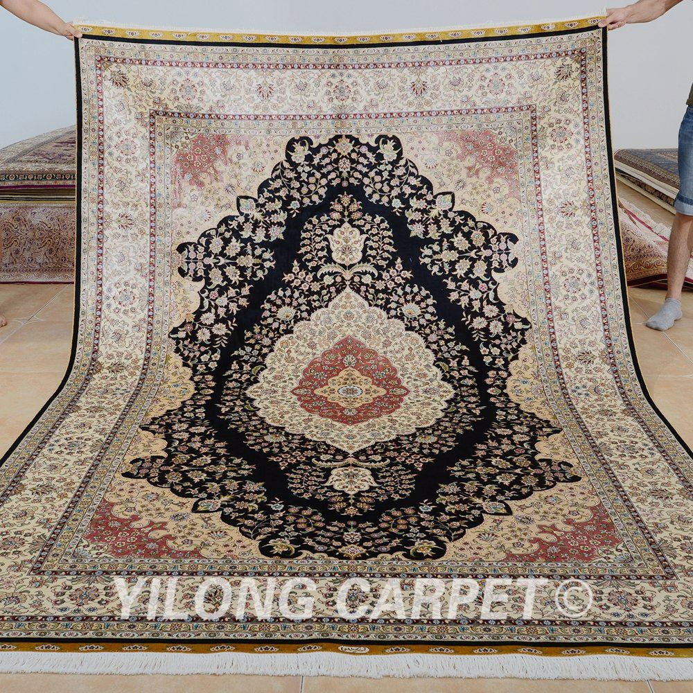 Yilong 6 X9 Antique Hand Knotted Living Room Silk Carpet Persian Traditional Rug