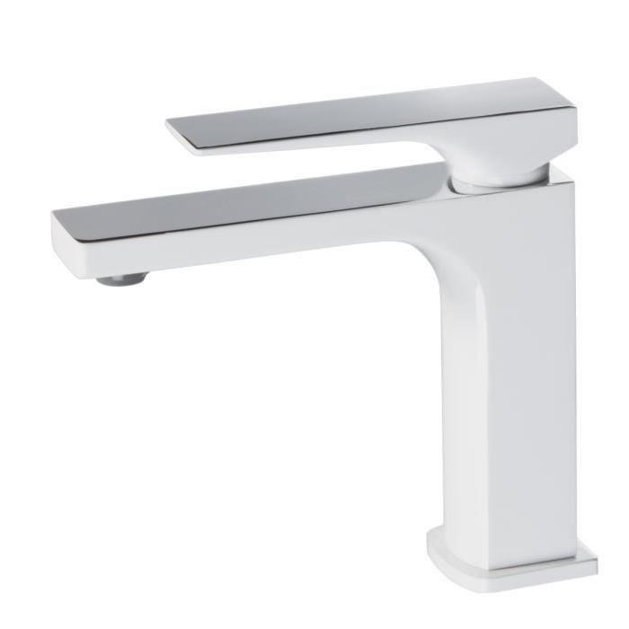 ROBINETTERIE SDB ESSEBAGNO Mitigeur lavabo Absolut blanc et chrome