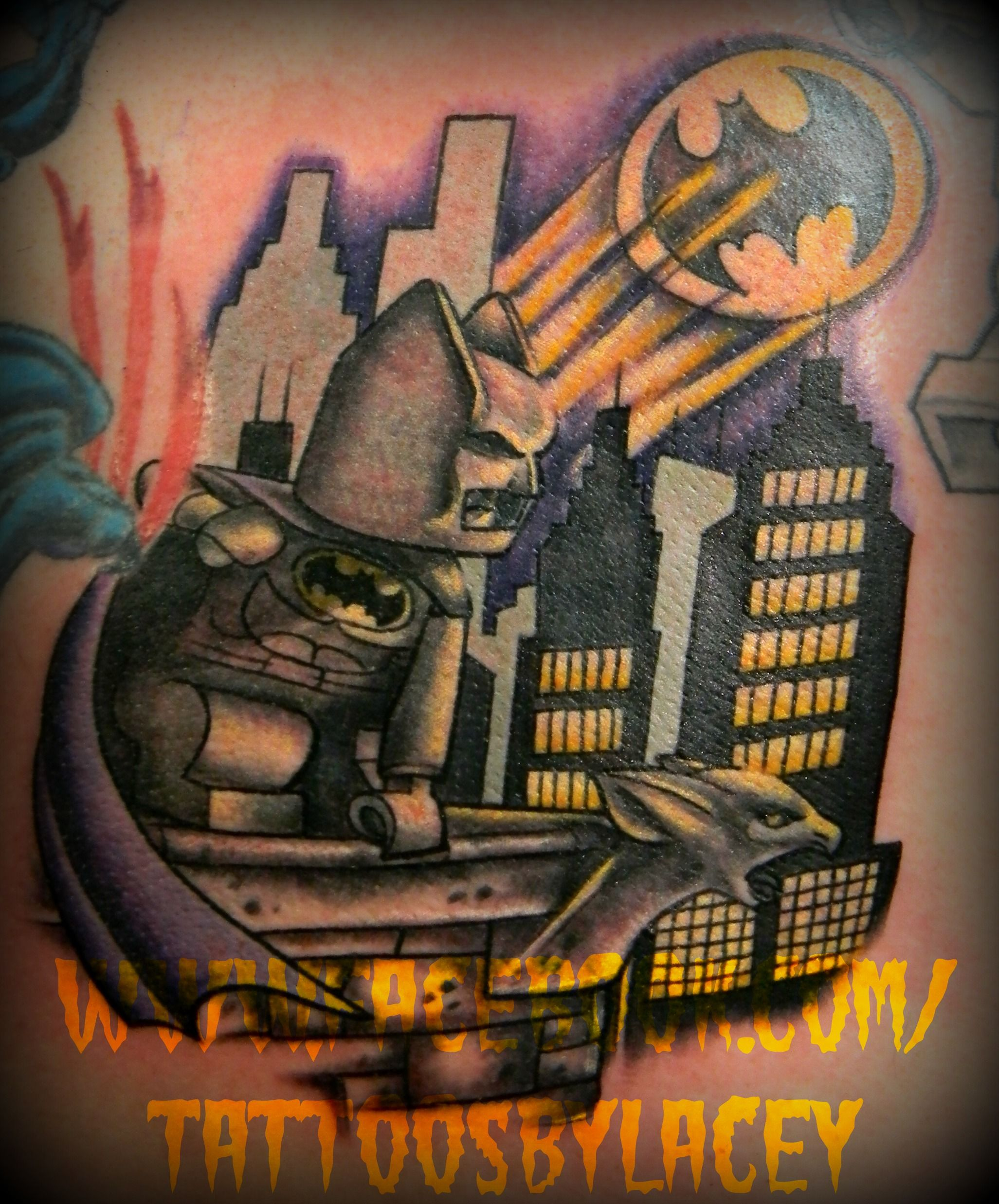 Flaming art tattoo for geek tattoo lovers this kind of batman - Tattoo