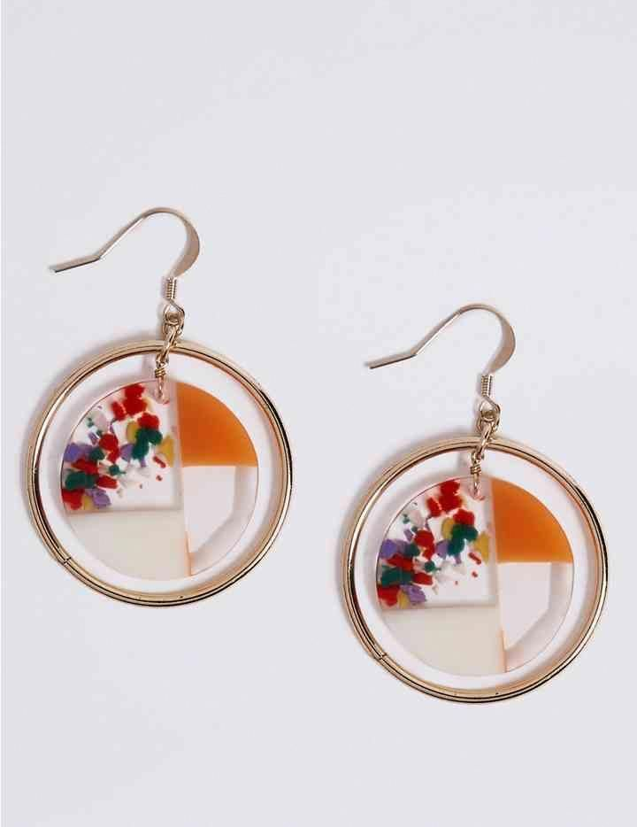 dangle earrings with geometric design pink pattern disc shape new 2.5 cms