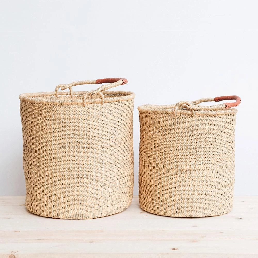 Ghanaian Bolga Laundry Basket With Leather Handles Hamper Basket