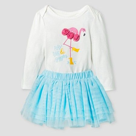 Target Baby Girl Clothes Baby Girls' Bodysuit And Tulle Skirt Cat & Jack™  Almond Cream