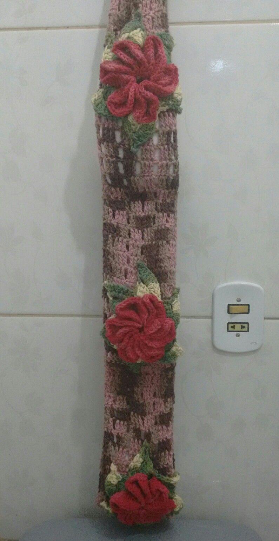 suporte para papel higiênico de crochê