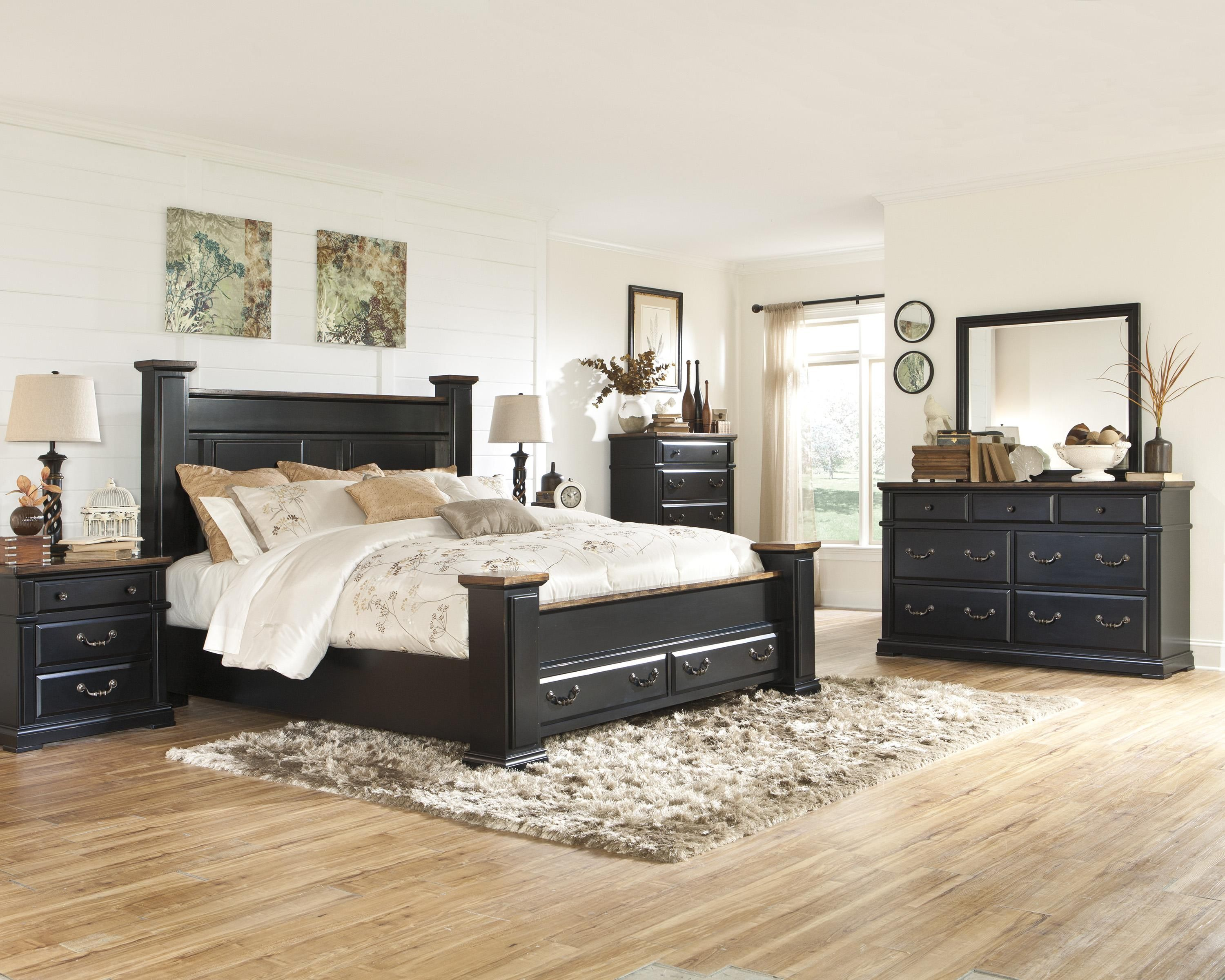 Master bedroom nightstand decor  The Breen master bedroom collection is full of rustic design touches