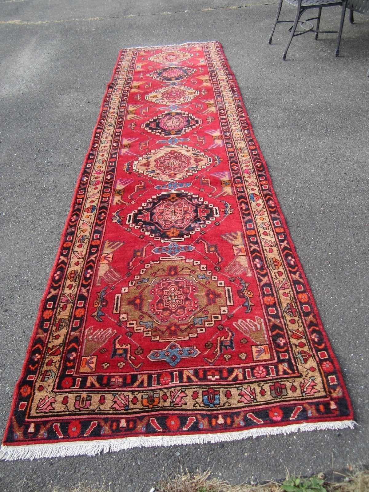 Vintage Oriental Rug Hand Made Runner Tribal Persian 3 6 X13 No Reserve