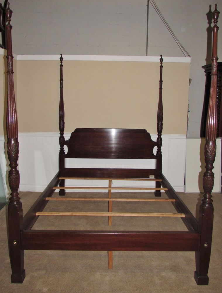 Ethan Allen Georgian Court Cherry Queen Size Poster Bed 4 Post