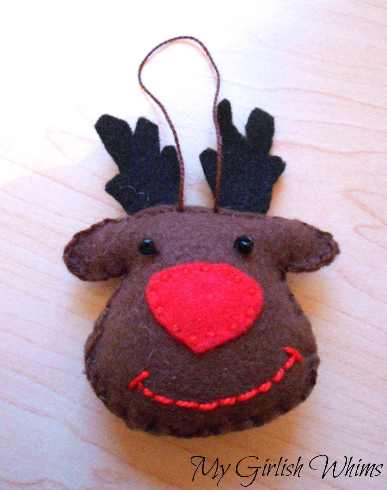 Felt Reindeer Ornament My Girlish Whims Reindeer Ornaments Felt Crafts Christmas Christmas Crafty