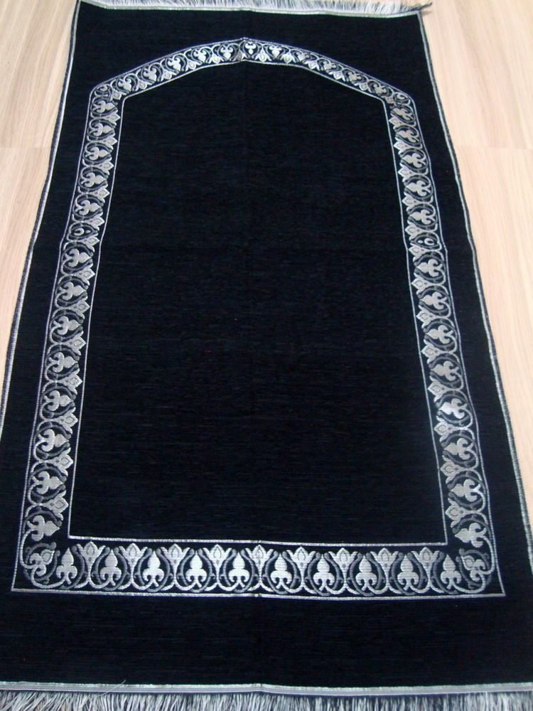 Black Plain Ic Prayer Rug Carpet Mat Namaz Salat Mus Janamaz