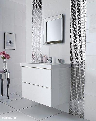 Glass Mosaic Silver A115 White Bathroom Tiles Bathroom Tile Designs Bathroom Wall Tile