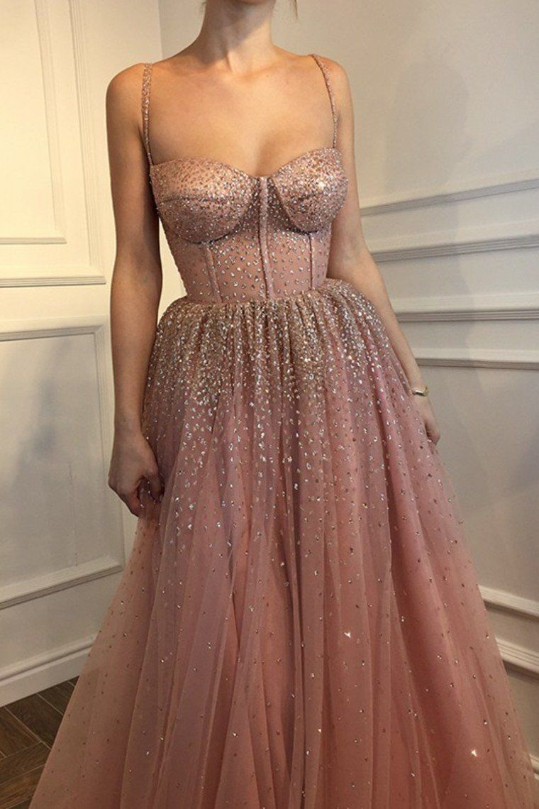 2019 ALine Sleeveless Spaghetti Straps FloorLength Rhinestone Tulle Dresses Evening - Tight prom dresses, Elegant dresses, Prom dresses long, Gowns dresses, Beauty dress, Dresses - 2019 ALine Sleeveless Spaghetti Straps FloorLength Rhinestone Tulle Dresses Evening, SSA, This dress could be custom made, there are no extra cost to do custom size and color