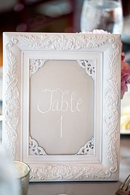 White and Silver Calligraphed Table Numbers