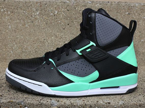 8a02db1bd42f1 jordan flight 45 high black mint arriving 2 Jordan Flight 45 High Black  Dark Grey Green Glow