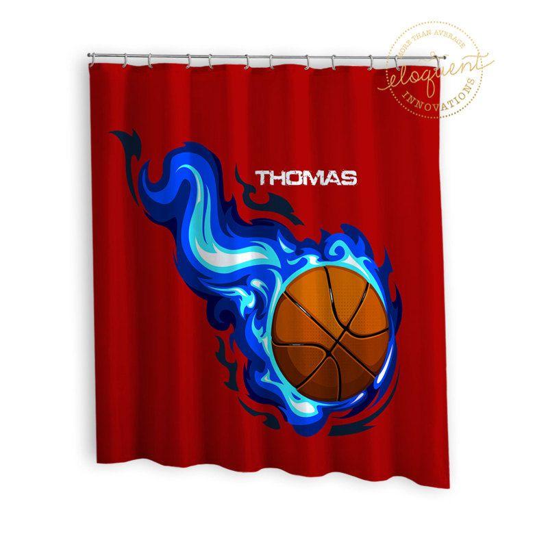 Sport Shower Curtains - Red & Blue - Sports Shower Curtain - Boy ...