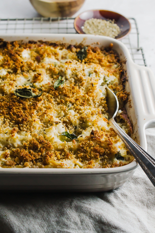 Chicken Alfredo Cauliflower Bake Recipe Dinner Casserole