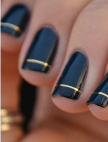 Black gold nail art nails pinterest black gold nails gold black and gold nail art gold stripe prinsesfo Images