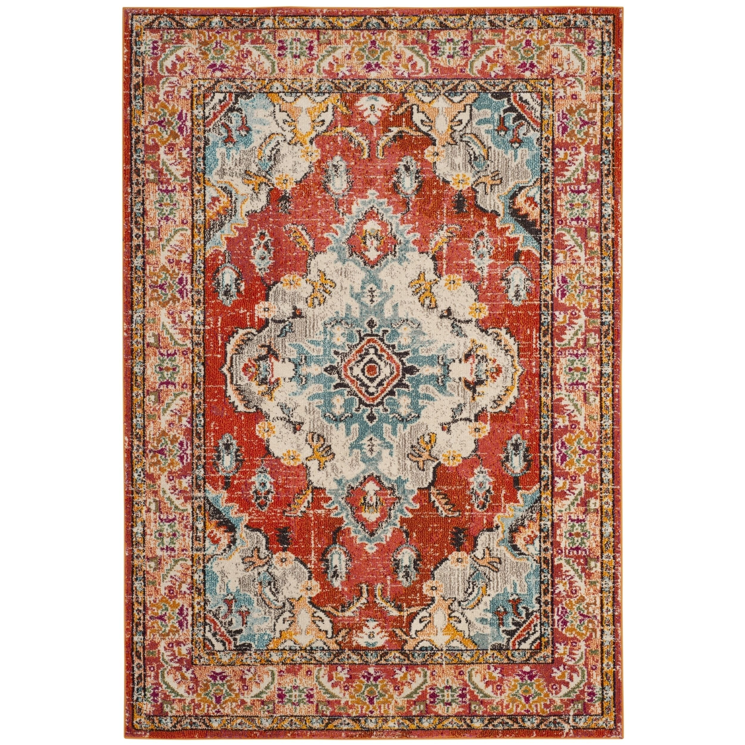Safavieh Monaco Vintage Bohemian Orange Light Blue Rug 6 7 X 9