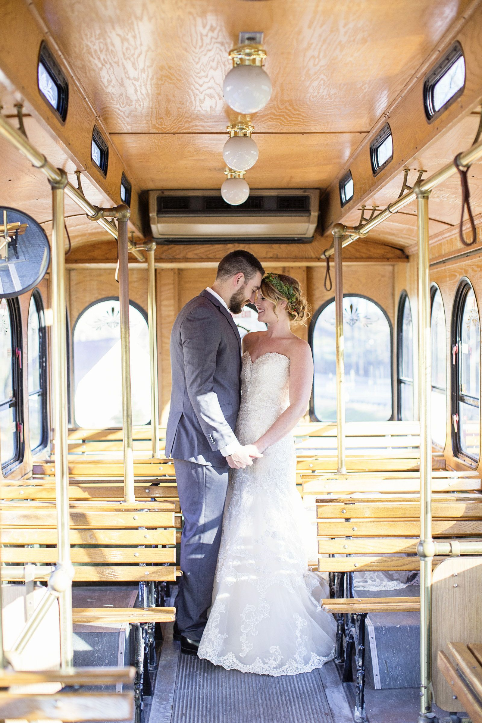 Wedding Bride And Groom Pose In Historic Trolley Bridal Party Transportation Old Fashioned Vintage Vehicles Clic Portraits Black