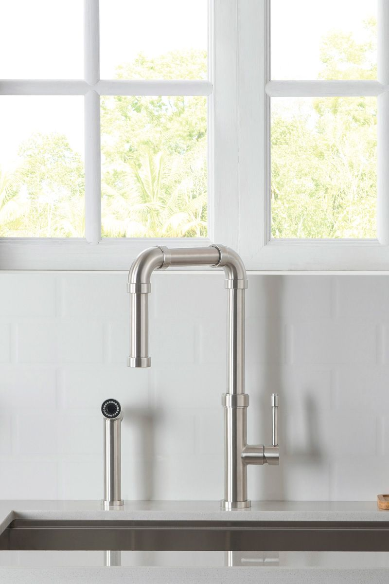 Download Wallpaper White Kitchen Faucet With Side Spray