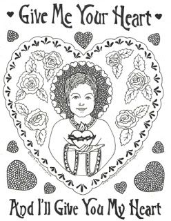 Child Jesus coloring page; good for St. Valentine's Day or any.