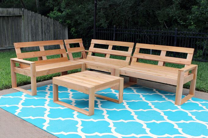 Outdoor Sofa Plans Part 1 Free Diy To Build A Cedar Plank Sectional For Under 100 View Tutorial This