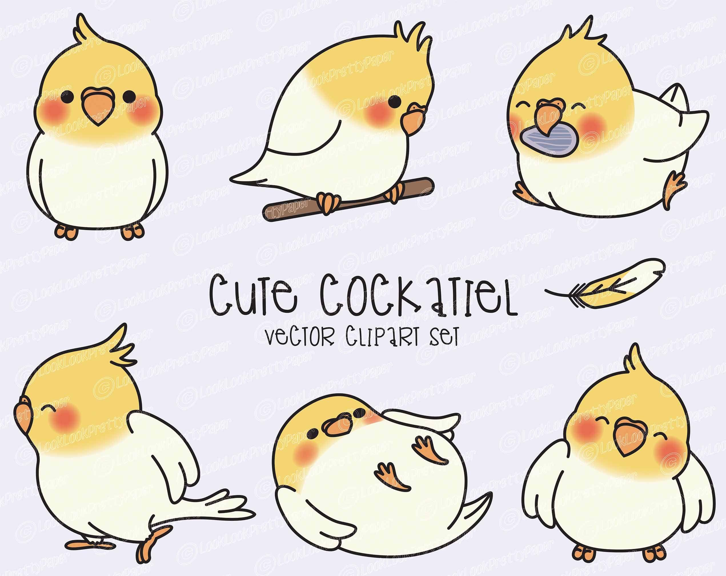 Premium Vector Clipart Kawaii Cockatiel Cute Cockatiel