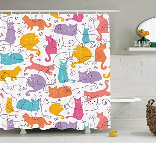 Cat Room Accessories Ambesonne Cat Lover Decor Collection Colorful Cats Jumping Playing Relaxing Fel Cat Shower Curtain Purple Shower Curtain Cat Room Decor
